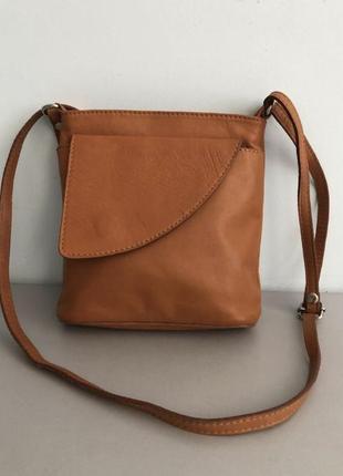 Шикарная кожаная итальянская сумочка клатч сумка кроссбоди