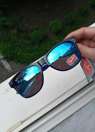 Крутые вайфареры унисекс черно-синие зеркальные ray ban италия