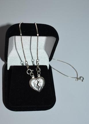 Новое мини колье цепочка с кулонами сердца 2 половинки серебро 925 проба вес 3,3 грамм