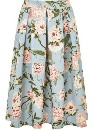 Классная голубая миди юбка с цветочным принтом