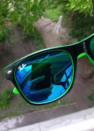 Ray ban вайфареры сине-чёрно-зелёные унисекс италия