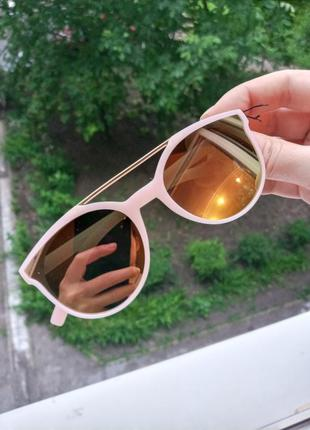 Крутые стильные детские очки для девочки матовая оправа бензиновые 3 категория защиты