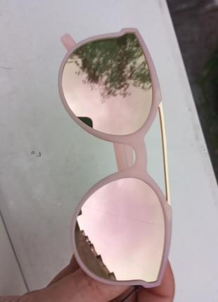 Крутые стильные очки для девочки зеркальные розовые 3 категория защиты