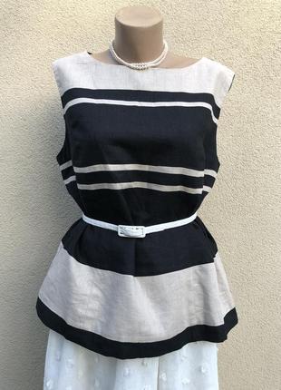 Льняная блузка по фигуре, в полоску,большой размер,лён+вискоза,f&f