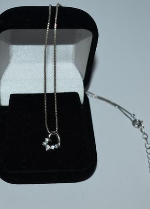 Изящное мини колье цепочка с кулоном сердце камни серебро 925 проба вес 2,9 грамм