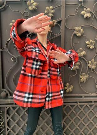 Теплая шерстяная рубашка-пальто рубашка пальто в клетку в стиле burberry