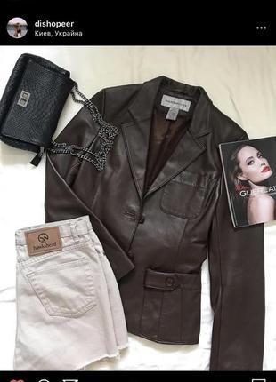 Кожаный пиджак, приталенный