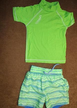 Шорты плавки футболка зеленые набор костюм на 3-4 года rebel