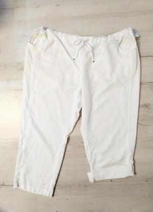 Льняные укороченные штаны бриджи
