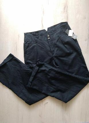 Легкие широкие штаны из льна с высокой талией лён
