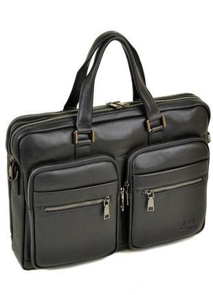 Мужской кожаный портфель, черная деловая сумк