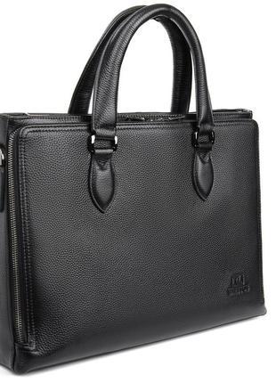 Мужская черная кожаная сумка-портфель для документов