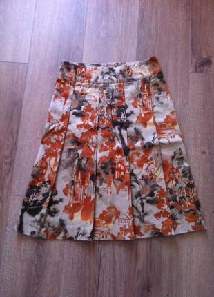 Хлопковая юбка zara в городской принт