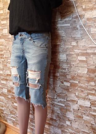 Америка, новые! шикарные, крутые, модные, рваные, джинсовые шорты, бриджи, стрейч