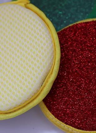 Двустороння губка для мытья посуды с абразивным слоем