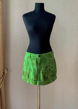 Коттоновая карго летняя юбка мини