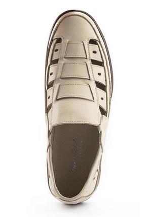 Босоножки / туфли / сандалии мужские белые кожаные натуральная кожа летние