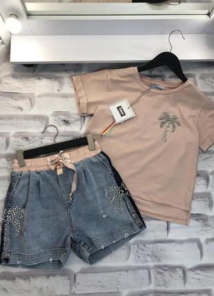Костюм с джинсовыми шортами, размер с,raw.