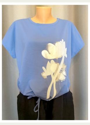 Брендовая женская футболка лилия голубая