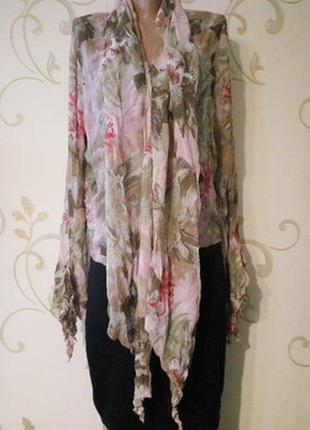 Красивая шелковая блузка туника накидка . интересные детали.