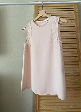 Warehouse пудровая шифоновая блуза
