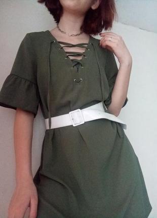 Оливковое платье со шнуровкой от new look