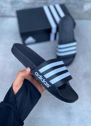 Adidas тапочки в черном цвете адидас (36-46)