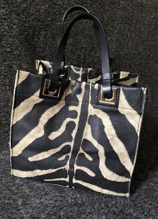 Уникальная оригинальная сумочка кожаная сумка с принтом зебры furla италия