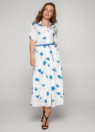 Платье-рубашка белого цвета с цветами