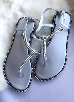 Силиконовые босоножки сандали серые серебро