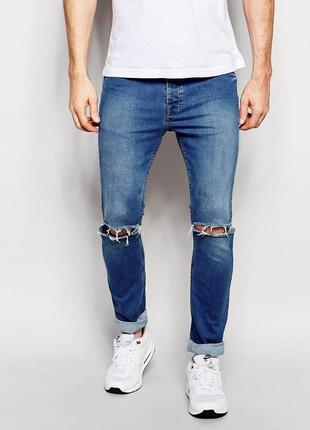 Крутые тонкие, стильные мужские рваные джинсы h&m р. 48-50 (33/34)