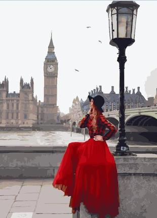 Картина по номерам brushme девушка в пасмурном лондоне, 40*50 gx24904
