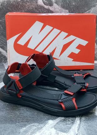 Мужские сандали nike dri fit черные с красным,летние,кожаные,босоножки