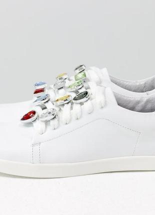 Эксклюзивные кожаные  белые кеды с камнями