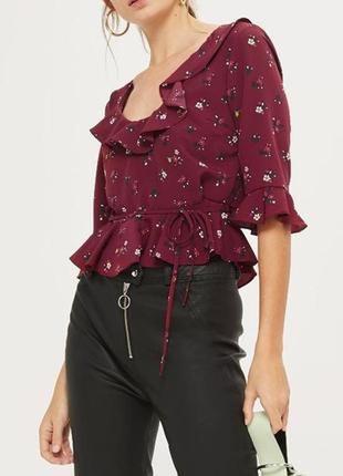 Блуза блузка с рюшами цветочный принт