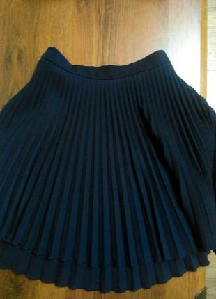 Шкільна синя міні спідниця юбка плесерована юбка школьная юбка плиссе тенисная юбка