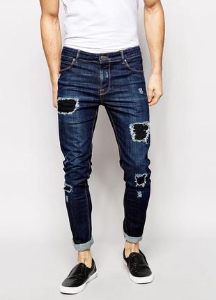 Новые модные джинсы straight р.46-48 с латками и потертостями пакистан