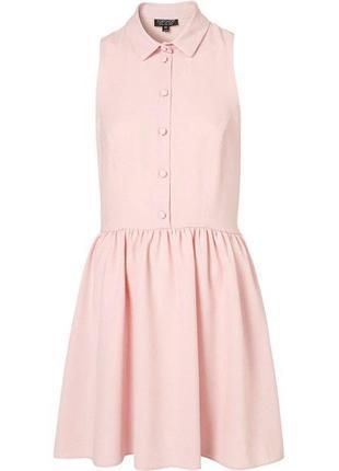 Пышное фактурное платье пудра с воротником на пуговицах и вырезами на спине винтаж