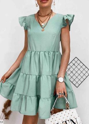 Легкое свободное платье в мелкий горошек горох софт турецкий