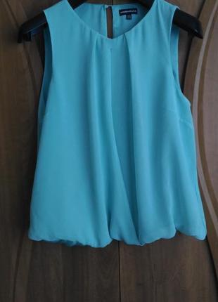 Шифоновая бирюзовая мятная блузка warehouse на запах, размер xxl