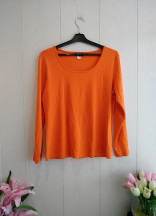 Стильный яркий лонгслив/джемпер/реглан/брендовый лонгслив оранжевого цвета