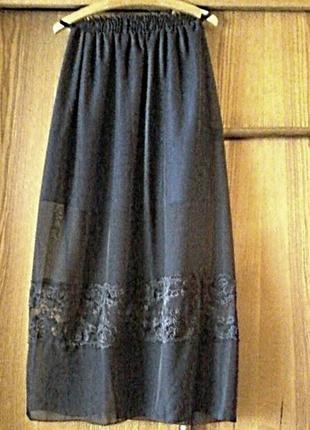 Шифоновая легкая юбка на подкладке,пояс резинка