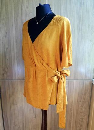 Натуральная легкая блуза ichi медового цвета с цветочным узором