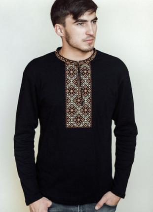 Вишиванка козацька коричнева на чорному