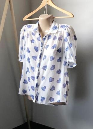 Прозрачная блуза с рукавами воланами в сердца