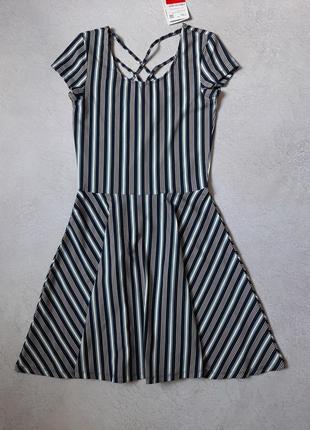 Повседневное платье в полоску, солнце клёш