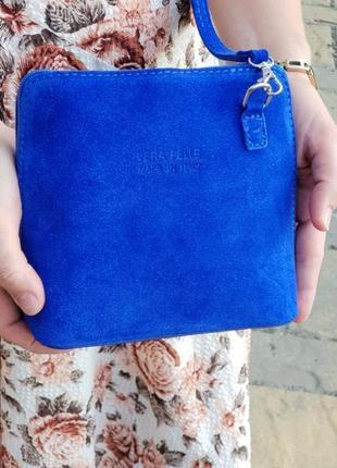 Замшевый ярко-синий клатч италия разные цвета
