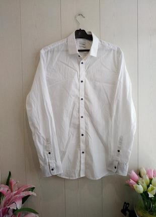 Стильная брендовая рубашка esprit/качественная белая рубашка esprit/красивая белая рубашка