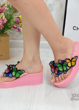 Шлепки разноцветные бабочки