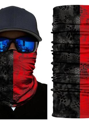 Бафф легкий бесшовный с 3d принтом черно красный; бандана вело маска шарф